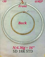 GoldNMore: 18K Gold Necklace Chain -choker- 16 inches (1pc) (White/Yellow Gold)