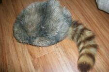 VINTAGE MENS DANIEL BOONE STYLE COONSKIN HAT CAP LEATHER BINDING