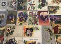 Nice~LOT of 25 ~Pansies~PANSY~Flowers Floral~Greetings Postcards-In Sleeves-a767