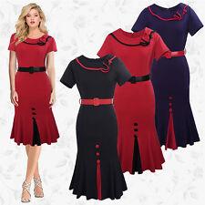 Retro Vintage Ladies Slim Fit Work Business Black/Navy/Red Dress Size 8-12-16-18