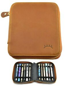 "Genuine Top Grain Soft Leather 12 Pen Case with Zipper Close, Brown, 5.5"" x 6.5"""