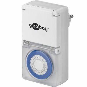 Temporizador programable analogico IP44 con enchufe Blanco  Blanco