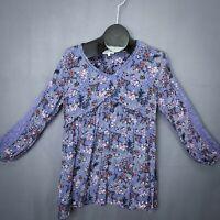 Grace & Lace Womens Top Shirt Large Purple Floral Crinkle Boho 3/4 Sleeve