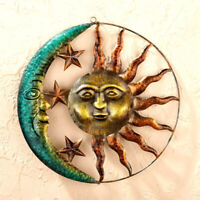 """18"""" Rustic Metal Sun Moon Star Celestial Wall Art Sculpture Indoor/Outdoor Decor"""
