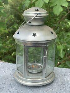 IKEA Silver Lantern Tealight Candle Holder Barn Star Glass Covered 10/5 ❤️sj8j