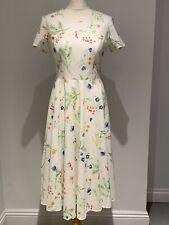 Laura Ashley Blanco Floral Vestido De Algodón Vintage Fit & Flare Primavera Boda Reino Unido 12