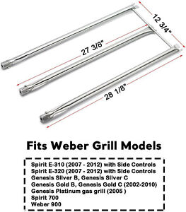 Stainless Steel Pipe Tube Burners 3pk BBQ Gas Grill Parts for Weber Genesis