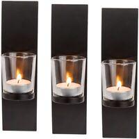 3x Schwarzer Wand-Metallhalter mit Glas Kerzenhalter für Teelicht ca. 21 x 8 cm