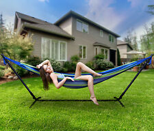 Sorbus Double Hammock with Steel Stand - Portable Carrying Case Included, Blue