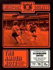 Newport County v Scunthorpe United programme, 4th Division, October 1977