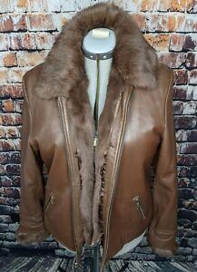 Wilsons Leather Pelle Jacket Winter Coat Wmn XL Genuine Rabbit Fur Lining Brown
