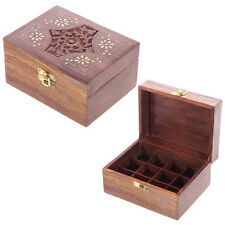 Sheesham Wood Compartment Box Essential Oil Medium Box Floral Carved Brass Inlay