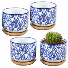 MyGift Set of 4 Japanese Wave White and Blue Ceramic Pots with Bamboo Drip Trays