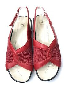 Propet Sandals Shoes Womens Sz 8.5  AA Red Leather Walking Slingback Comfort A55