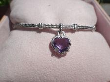 Judith Ripka Purple Amethyst Heart STERLING Silver Charm Bangle Bracelet, NIB