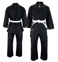 New Malino Black Karate Suit 8oz Gi Free Belt 100% Cotton Childrens Adult Kids