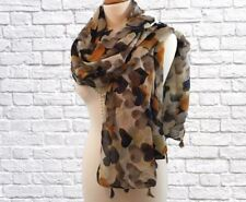 Ladies Bold Heart Print Pashmina Scarf Wrap Mustard Navy Beige Black White