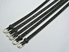 50 Black Glitter Leatherette Bracelet Wristband Fit 8mm Slide Charm DIY