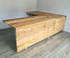 Industrial Office Reception Desk Reclaimed Scaffold Boards Steel Legs