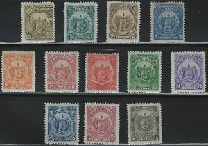 El Salvador - 1895 - Scott # 117 thru 128 - Complete Set - Mint Lightly Hinged