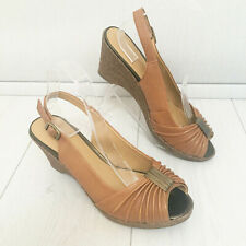 Footglove Slingback Wedge Sandals 7.5 Tan Brown LEATHER UPPER Peep Toe Party