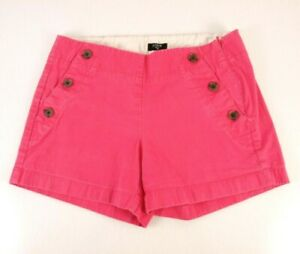 Ladies J Crew Shorts Size 0 Pink City Fit Side Zip Stretch