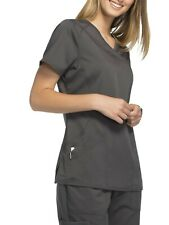 Scrubstar Women's Premium Mock Wrap Scrub Top, grey or red