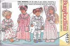 UNCUT sewing pattern Butterick 4413 girls 2-4 robe nightgown hat vintage 1989 FF