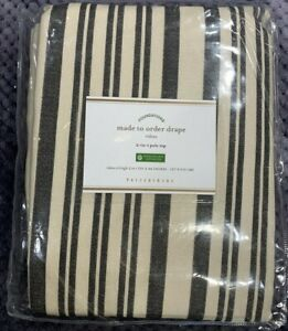 "Pottery Barn Antique Stripe Print Linen/Cotton Rod Pocket Curtain, 50x84"", Gray"