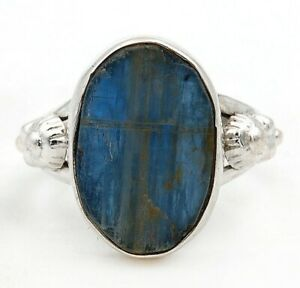 Natural Rough Kyanite 925 Solid Sterling Silver Ring Jewelry Sz 8, ED31-1