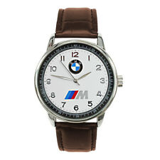 BMW Mens Stainless Steel WHITE Dial BROWN Leather Strap Sport CAR Watch
