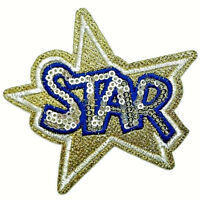STAR PATCH IRON ON SEW EMBROIDERED APPLIQUE SEQUIN JACKET BADGE BADGES GOLD