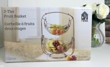 Mesa 2 Tier Stainless Steel Fruit Vegetable Basket Silver Bowls Fruit basket