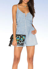 7 FOR ALL MANKIND Women's Zip Front SHORT ROMPER Light Blue Chambray - Large