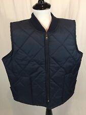 Big Mac Work Wear Quilted Nylon Vest Men's Size XL Zip Up Navy Blue Insulated