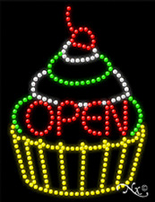 """NEW """"OPEN"""" CUPCAKE 26x20 SOLID/ANIMATED LED SIGN W/CUSTOM OPTIONS 21244"""