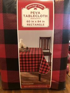 """Holiday Time Tablecloth Black & Red Buffalo Plaid 60"""" X 84"""" Rectangle NWT"""