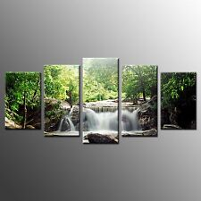 FRAMED Canvas Art Prints Green Tree Waterfall Wall Art Painting Home Decor-5pcs