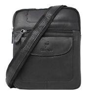 Starhide Mens Womens Leather Cross Body Travel Messenger Shoulder bag Black 505