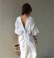 HOT Fashion Korean Women Short Sleeve Summer Bandage Split Long Shirt Dress