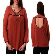 T29 New Womens Rust Plus Size 18/20 Long Sleeves Chiffon Work Formal Blouse Tops