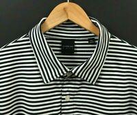 DUNNING GOLF Men's Black/White Striped Short Sleeve Polo Shirt sz 2XL