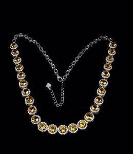 Golden Genuine Citrine Tennis Necklace