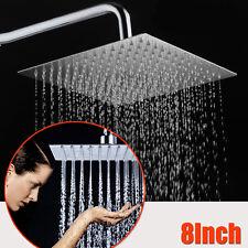 "8"" Square Stainless Steel Bath Rainfall Rain Shower Head Sprayer Chrome Bathroom"