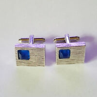 Vintage 50's Silver-tone Square Cuff Links with a Blue Stone