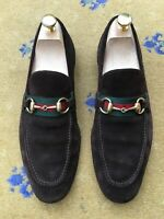Gucci Mens Shoes Brown Suede Web Horsebit Loafers UK 7 US 8 EU 41 Green Red