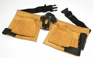 Hilka Leather Double Tool Belt Suede 6 Pockets Hammer Loop Tape Measure Pouch