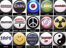 MESSAGE Badges FIFTEEN Button Pins set  - COOL!