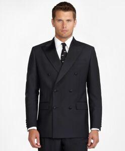 BROOKS BROTHERS Black DOUBLE BREASTED MADISON Tuxedo Dinner Suit Jacket UK40L