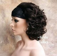 Dark Brown 3/4 Fall Hairpiece Classic Short Curly Half Wig Cap Hair Piece #4